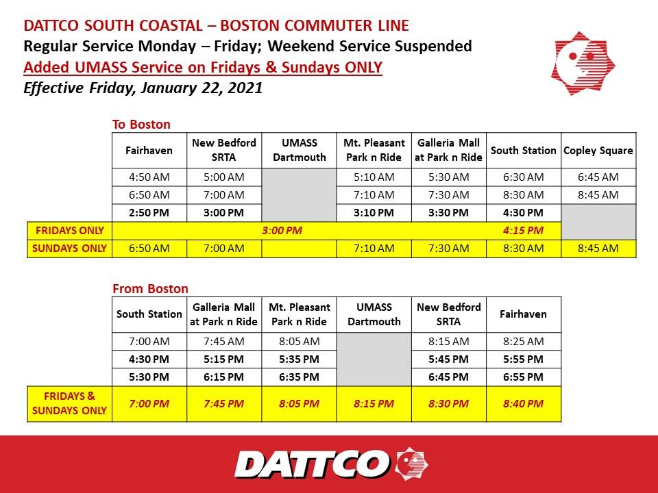 Boston Schedule Effective 1.22.21