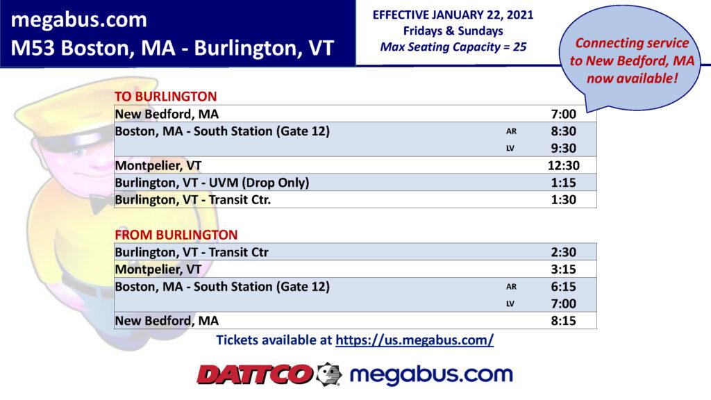Megabus Boston Burlington 1.22.21